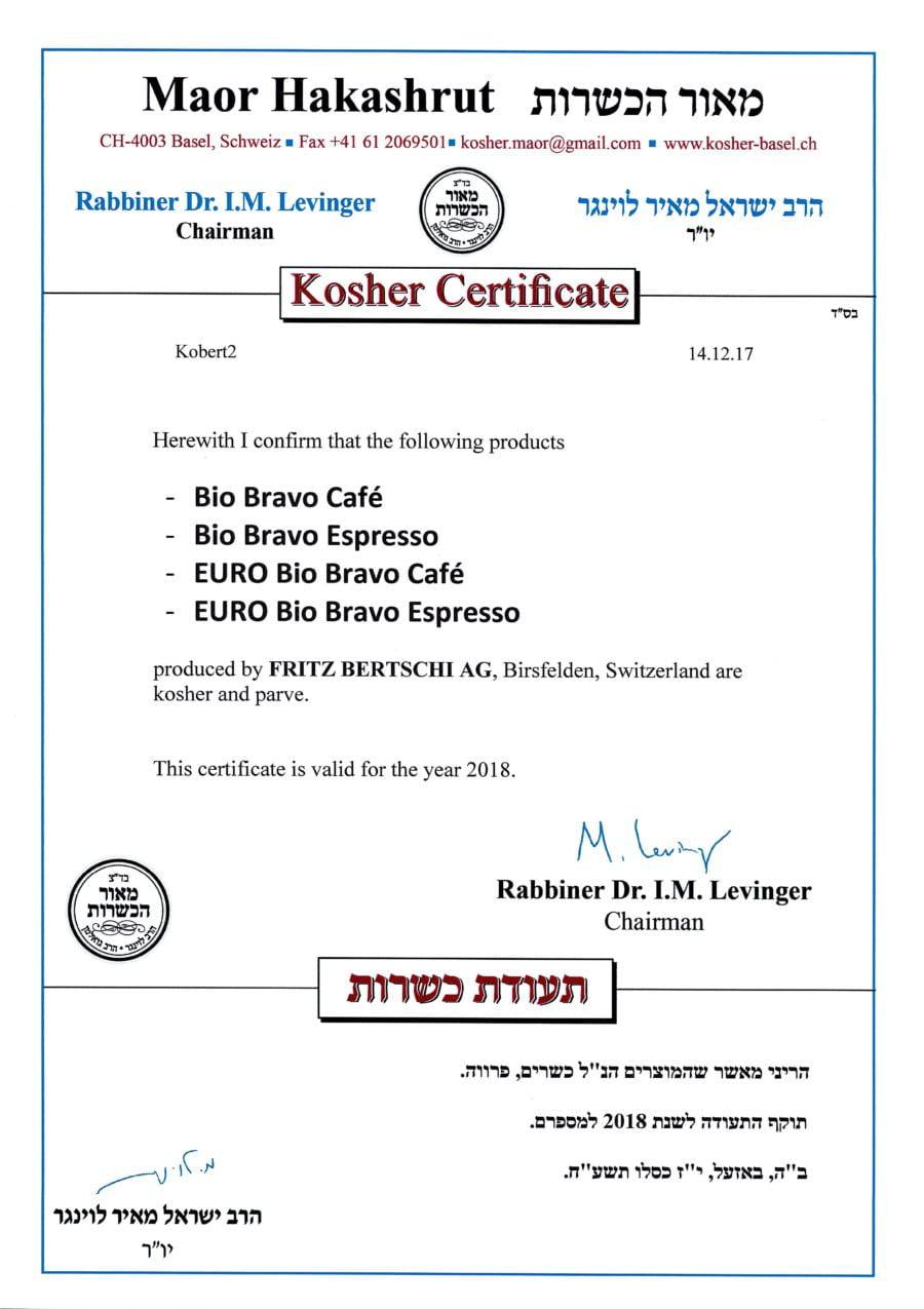 Kosher-Zertifikat-Bertschi-Café